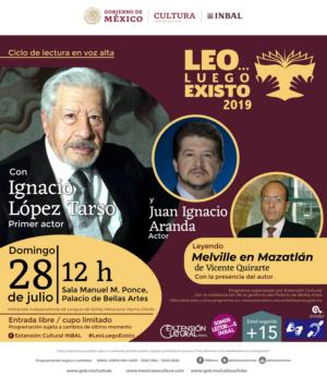 El primer actor Ignacio López Tarso y el actor Juan Ignacio Aranda leerán fragmentos de Melville en Mazatlán, de Vicente Quirarte