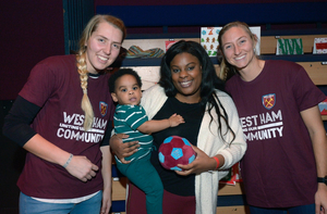 West Ham United Women's Team Players Surprise Families At Stratford Circus With Festive Visit
