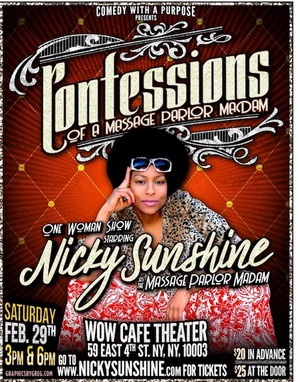 Nicky Sunshine Brings Solo Show CONFESSIONS OF A MASSAGE PARLOR MADAM to WOW Cafe Theater
