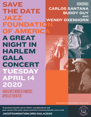Carlos Santana, Buddy Guy and Wendy Oxenhorn To Be Honored by The Jazz Foundation of America