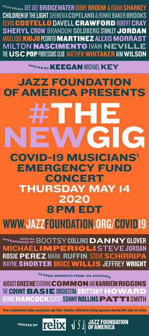 Jazz Foundation Of America Presents Online Concert #THENEWGIG For Musicians' Emergency Fund, Featuring Jon Batiste, Elvis Costello, Sheryl Crow, and More!