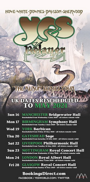YES Announces Re-Scheduled UK & Eire Tour Dates for May 2021