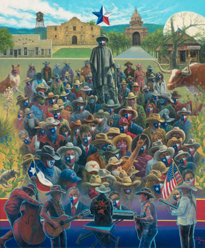 Artist Jack Terry Creates TEXAS MASKUERADE PARTY Painting in Support of Public Awareness Campaign