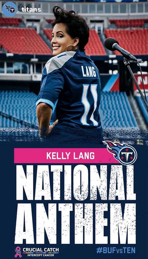 Kelly Lang Performs National Anthem At Nissan Stadium For Tennessee Titans VS. Buffalo Bills NFL Game