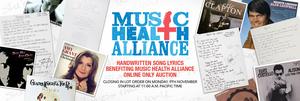 Julien's Auctions Announces Online Charity Auction, 'Handwritten Song Lyrics Benefitting Music Health Alliance'