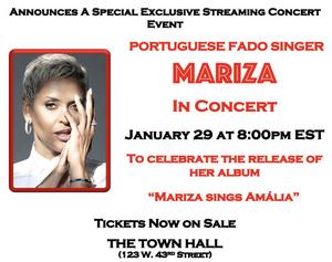 The Town Hall Presents Portuguese Fado Singer Mariza in Concert