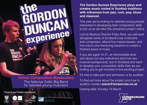 Young Musicians Invited to Audition for The Gordon Duncan Experience Composition Course