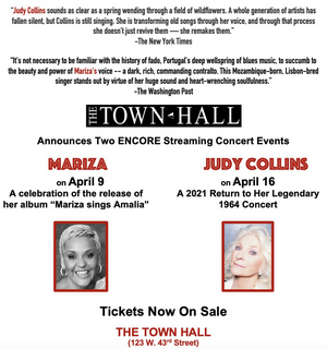 Judy Collins and Mariza Encore Streaming Concerts to be Presented by The Town Hall