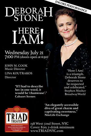 Deborah Stone comes to The Triad Theater With an Encore Performance of HERE I AM! in July
