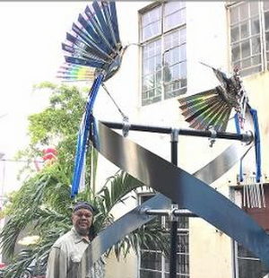 Artist Bernard Stanley Hoyes Delivers Symbolic Spiral Steel Sculpture To Jamaica During The Pandemic