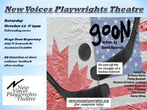 New Voices Playwrights Theatre Presents Their Fall Reading Series: GOON By David Rusiecki