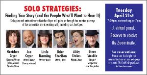 TRU Presents April Panel Via Zoom - SOLO STRATEGIES: FINDING YOUR STORY (AND THE PEOPLE WHO'LL WANT TO HEAR IT)
