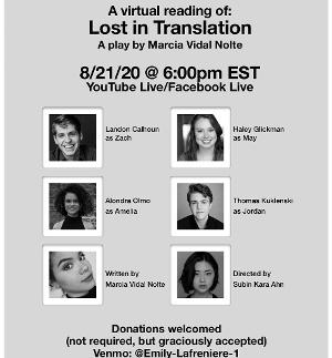 Virtual Reading of LOST IN TRANSLATION By Marcia Vidal Nolte Announced August 21