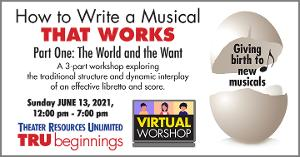 Theater Resources Unlimited Presents 'How To Write A Musical That Works Part One: The World And The Want'