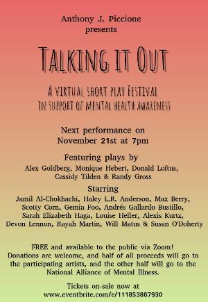 First Performance Of The TALKING IT OUT Virtual Play Festival's 2020-21 Season To Stream On November 21st
