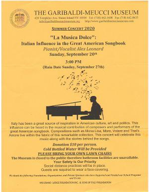 LA MUSICA DOLCE Presents The Italian Influence In The Great American Songbook