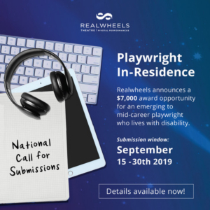 Realwheels Theatre Announces National Call For Playwright-in-Residence