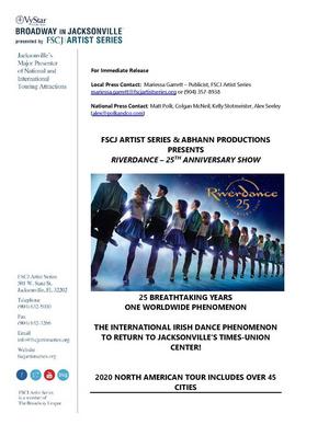 FSCJArtist Series & Abhann Productions PresentsRIVERDANCE – 25TH ANNIVERSARY SHOW