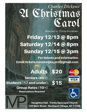 The Minstrel Players Will Present Their Annual Production Of A CHRISTMAS CAROL