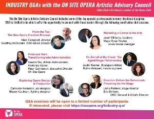On Site Opera's Artistic Advisory Council To Host Industry Discussions To Stimulate, Educate and Problem Solve