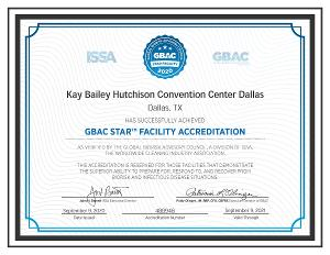 Kay Bailey Hutchison Convention Center Dallas Achieves GBAC STAR Facility Accreditation