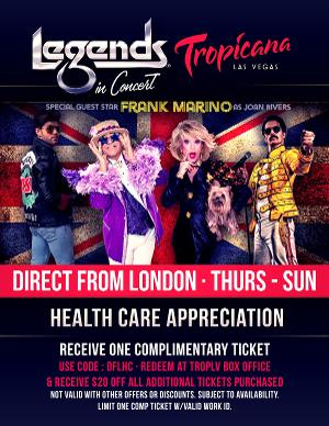 Legends In Concert Honors Health Care Workers Offering Complimentary Ticket Offer With Valid ID