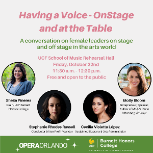 Opera Orlando Presents HAVING A VOICE- ONSTAGE AND AT THE TABLE
