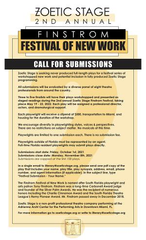 Zoetic Stage Opens Submissions For The 2nd Annual Finstrom Festival