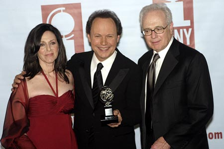 Janice and Billy Crystal, and producer Larry Magid at 2005 Tony Award Winners