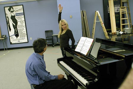 Rob Fisher (at Piano) and Kristin Chenoweth in rehearsals for the Encores! production of The Apple Tree. at Sneak Peak at Encores! The Apple Tree
