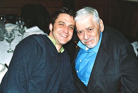 Raul Esparza (Caractacus Potts) and Robert B. Sherman of the Sherman Brothers (Composer/Lyricists) at Welcoming Chitty Chitty Bang Bang to Broadway