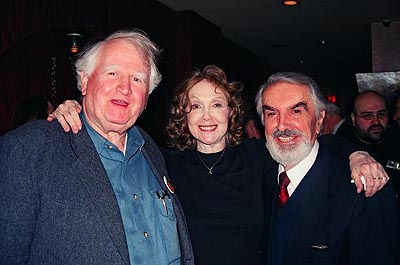 Malachy McCourt, Charlotte Moore and Milo O'Shea  at Finian's Rainbow Opening Night Party