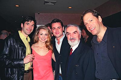 Jonathan Hadley (Sheriff, Mr. Shears), Kimberly Dawn Neumann, Max Von Essen, Milo O'Shea and David Staller (Narrator, Mr. Robust)  at Finian's Rainbow Opening Night Party