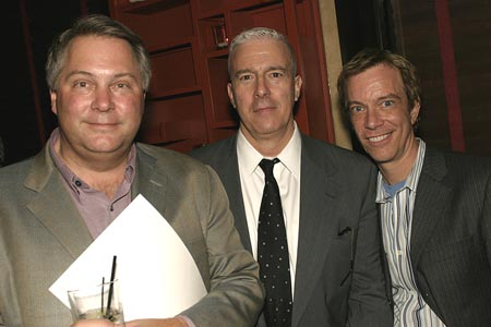 Geoff Rich (Managing Dir. The New Group), Peter Stern & Tom Smedes (Martian Entertainment) at Lucille Lortel Awards Nomination Reception