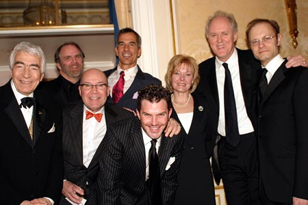 Gordon Davidson, Chris Campbell (Honoree), Jack O'Brien, Jerry Mitchell, Denis Jones, Jane Curtin, John Lithgow, and David Hyde Pierce at NCTF Gala Honors John Lithgow, Chris Campbell, and Gordon Davidson