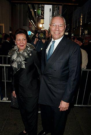 Colin Powell and his wife Alma  at On Golden Pond Opening Night Arrivals