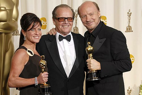 Cathy Schulman, Jack Nicholson and Paul Haggis at 78th Annual Academy Awards