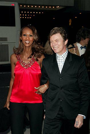 David Bowie and Iman  at The Pillowman Opening Night Red Carpet