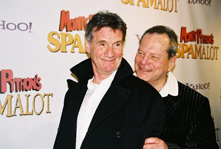 Michael Palin and Terry Gilliam (original members of Monty Python)  at Spamalot Opening Night Party