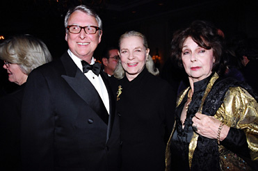 Mike Nichols, Lauren Bacall and Ellen Adler at Stella Adler Gala/Passing of the Torch - Brando to Beatty