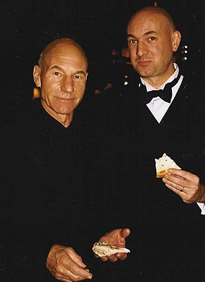 Patrick Stewart and son Daniel at Tony Party Central!