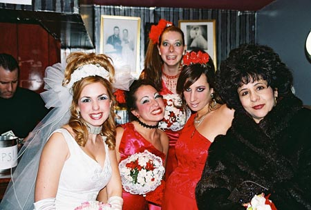 Joli Tribuzio (Bride: Valentina Lynn Nunzio), Dina Rizzo (Maid of Honor: Connie Mocogni), Jessica Aquino (Bridesmaid: Donna Marsala ), Dawn Luebbe (Bridesmaid: Marina Gulino) and Anita Salvate (Mother of the Bride: Josephine Vitale)  at Scott Nevins Joins Tony N' Tina's Wedding