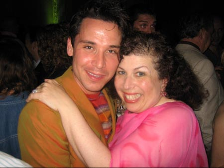 Kristoffer Cusick with bookwriter Winnie Holzman at Wicked Opens in Chicago