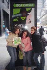 Were so stupid me,gabby , and her freind we passed out wicked cookies at the stage door and around times square