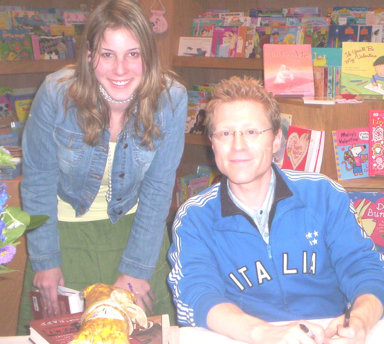 me and anthony rapp   notice the popcorn that like in everyones pics   and its from me!