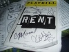 My signed RENT playbill by Caren Lyn Manuel, Karmine Alers, Justin Johnston, Cary Shields and Kelly Karbacz from 3.12.05.