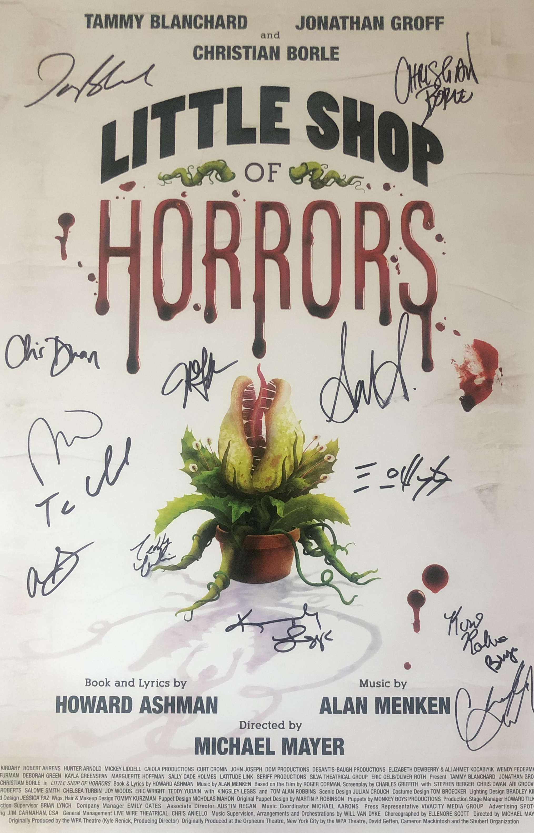 Little Shop of Horrors Revival Cast Signed Windowcard