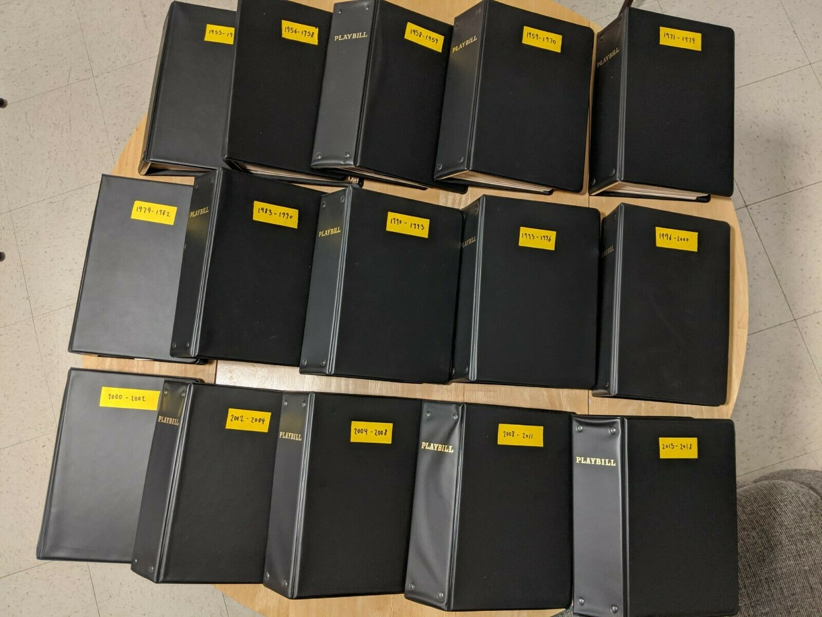 Collection of 188 Broadway Playbills from 1955-2018: 15 binders, great condition