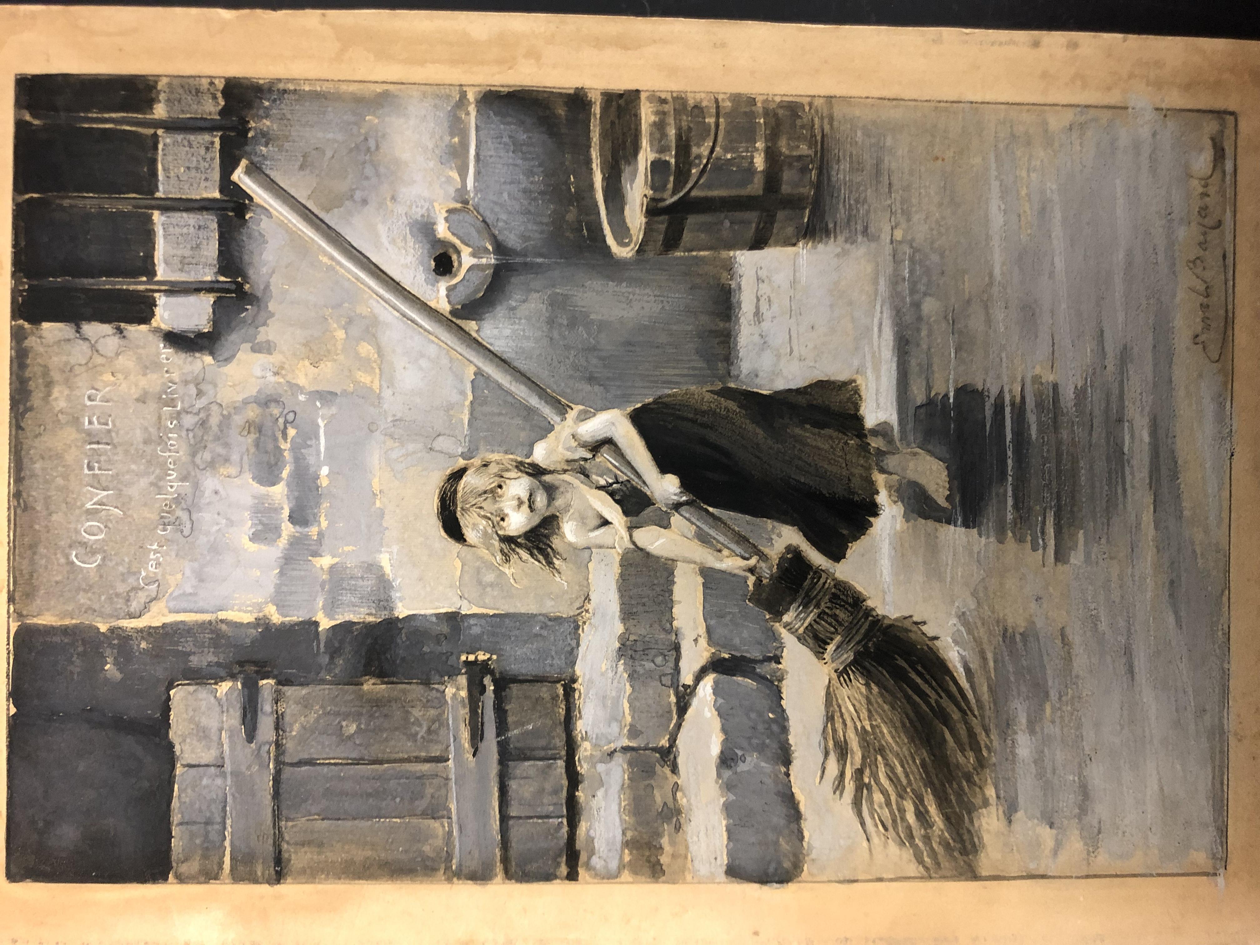 Les Miz Cosette Antique Gouache Drawing