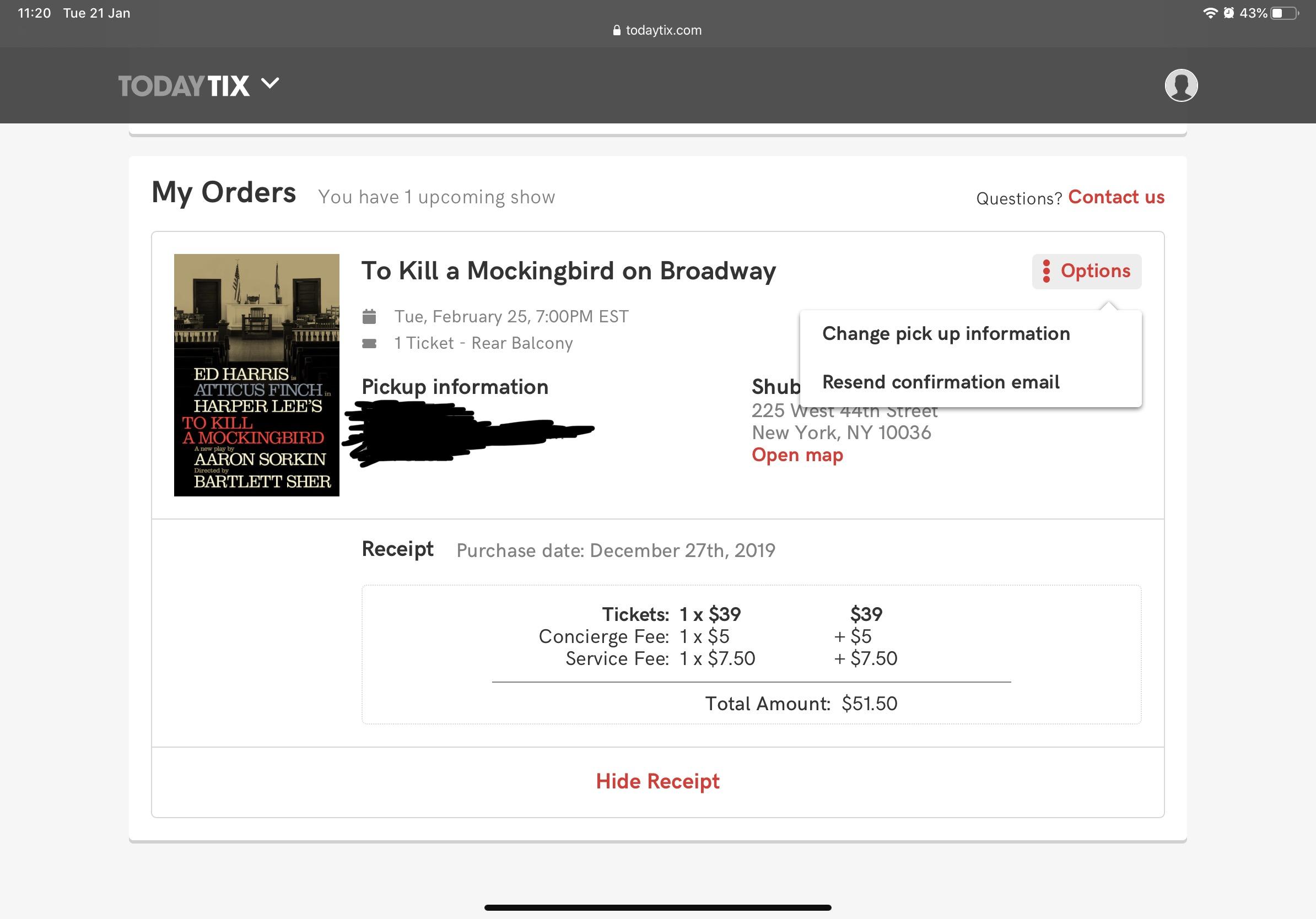 February 25 2020 (7pm) - To Kill a Mockingbird for $40